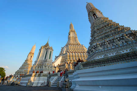 Ancient white pagoda of Wat Arun the famous temple in Bangkok