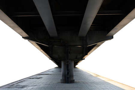 Under steel bridge on white background