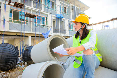 Asian female construction site engineer