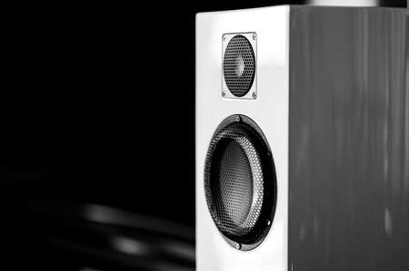 Black and white color music speakers background Stock Photo