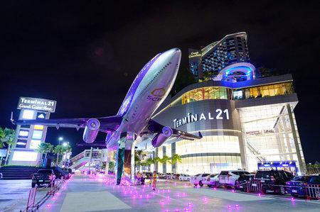 Chon Buri, Thailand - July 27, 2019 : Night scene Terminal 21 new shopping mall in Pattaya