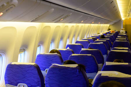Interior of a passanger plane during flight