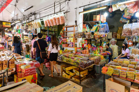 Hat Yai, Thailand - August 6, 2020 : Various of dried food shop at Kim Yong Market famous wholesale market in Songkhla