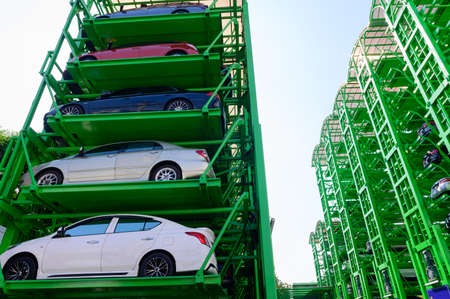 Stacked of mechanical parking lot Imagens