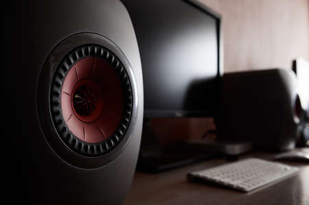 High quality loudspeakers and computer monitor on the table