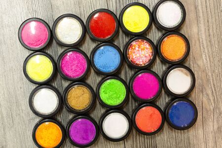 multicolor glitter used for mails art and photographed from above Stockfoto