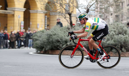 Imperia, IM, Liguria, Italy - March 19, 2016: An important cycling race in a small town in Italy in March. The name of the competition is Milano-Sanremo 2017