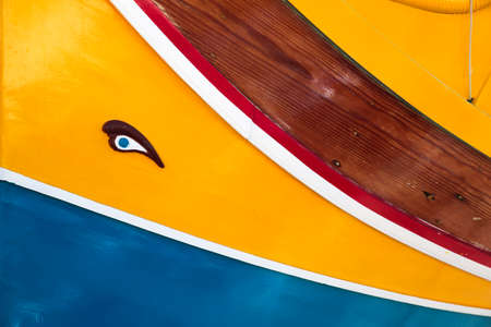 Luzzu, typical Malta boat decorated with the eye of Horus