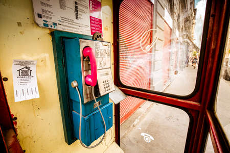 Budapest, Hungary, 29/04/2018: Telephone booth with pink phone in Budapest city centre Stockfoto - 151085349