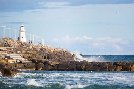 Landscape of the Ligurian coast in the city of Porto Maurizio in Imperia 版權商用圖片