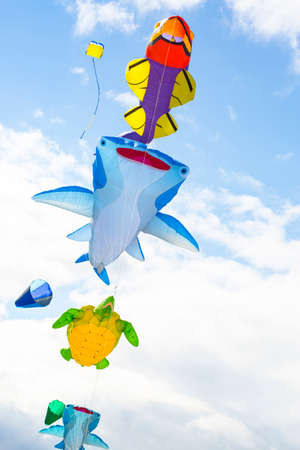 Flying kite with the shape of sea animals, manta, turtle and fish.