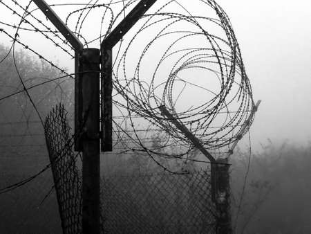 net with barbed wire and fog holes from a military base Zdjęcie Seryjne