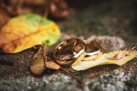 wedding ring with autumn leaves
