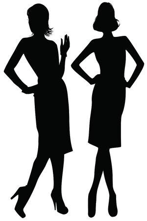 faldas: Silueta de mujer elegante  Vectores