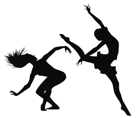 woman jump: Silhouettes of women which dance