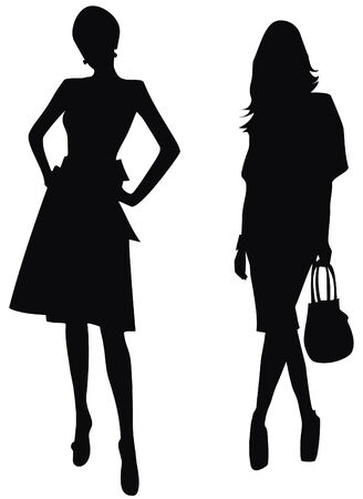 dress form: Silhouettes of elegant women