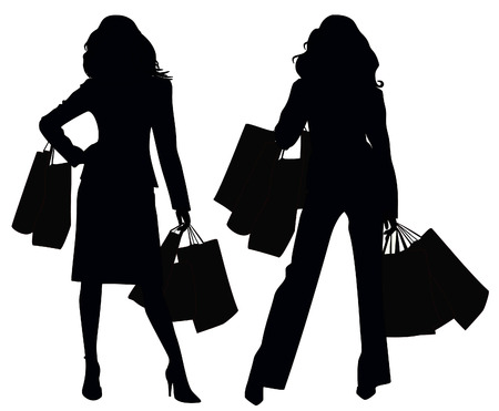 woman shopping bags: Silhouettes of two girls  Illustration