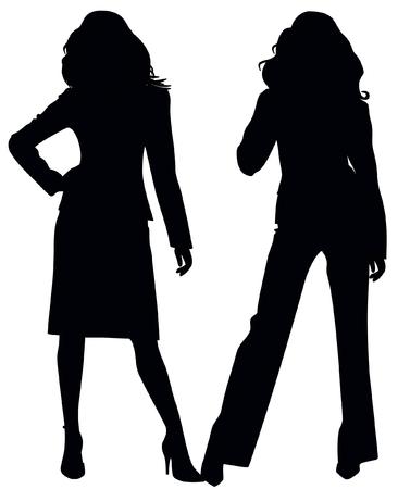 femme noir sexy: Silhouettes de deux jeunes filles