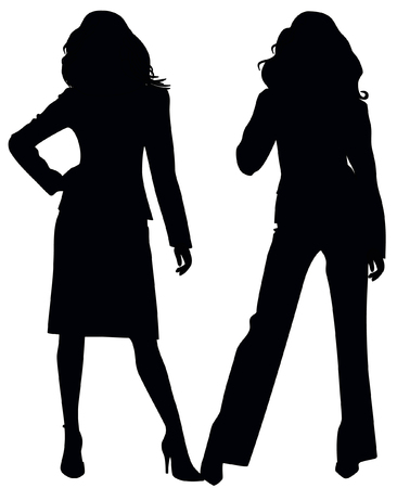 female silhouette: Silhouettes of two girls