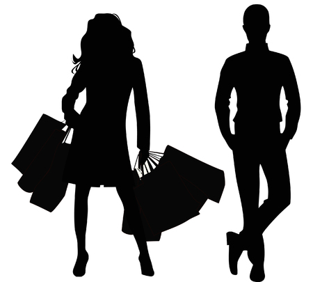Silhouette of the man and the woman  Stock Vector - 8397399