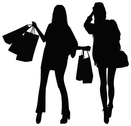 go to store: Silhouettes of two girls