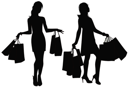 go shopping: Silhouettes of two girls