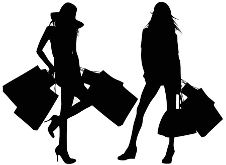Silhouettes of two girls Stock Vector - 8397386