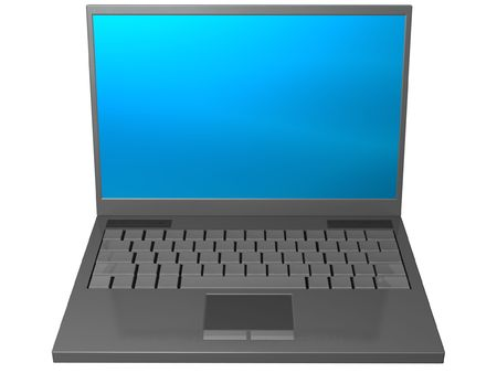 minicomputer: isolated gray laptop computer