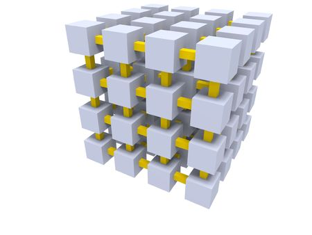 Gray cube grid connected by yellow beams