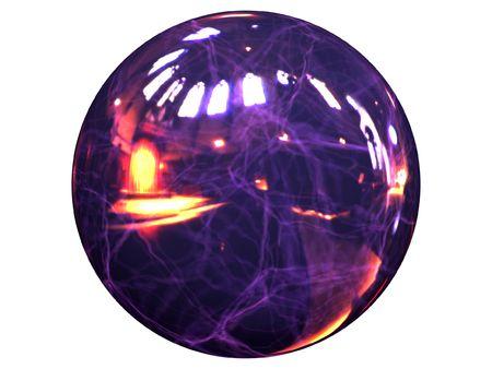 amperage: blue reflective lightning energy ball on the white background