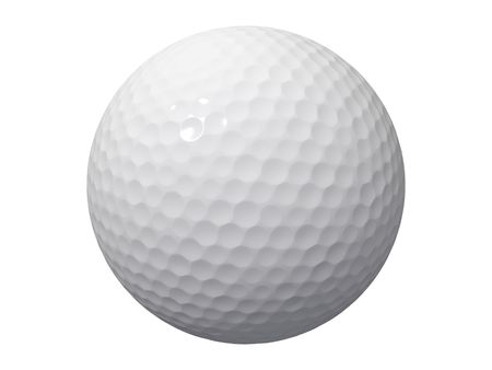 an isolated golf ball on a white background