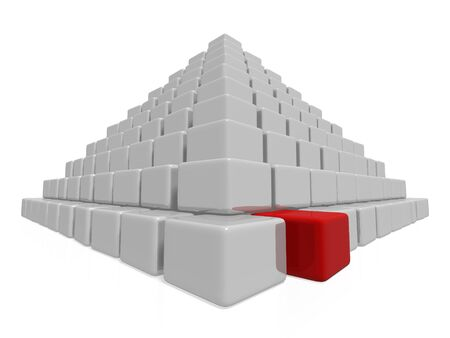 gray pyramid with one red block sticking out