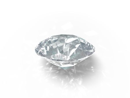 An isolated brilliant cut diamond on white background.