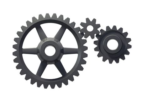 An isolated three cogwheels on white background Stock Photo - 2628924