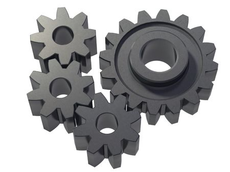 An isolated small cogwheels on white background Stock Photo