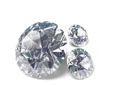diamond cut: An isolated brilliant cut diamonds on white background Stock Photo