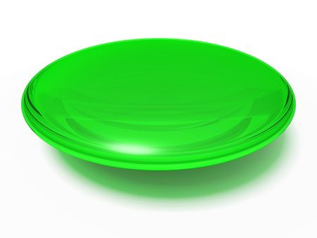 An isolated green transparent orb on white background