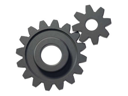 An isolated two small cogwheels on white background Stock Photo