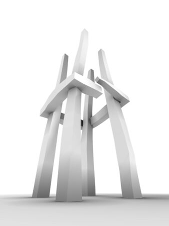 An abstract tower sculpture with four pillars, on white background Stock Photo