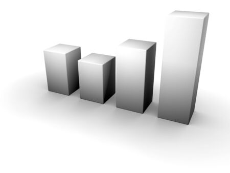 An isolated 3d gray bar graph on white background