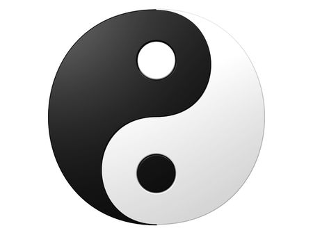 An isolated black and white ying-yang symbol on white background photo