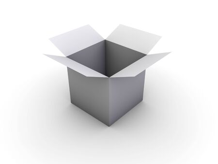 An simple open box on white background Stock Photo