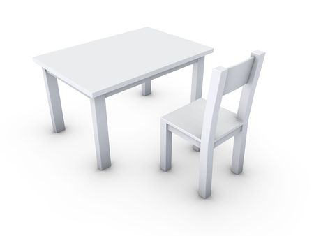 An isolated simple gray table and chair on white background
