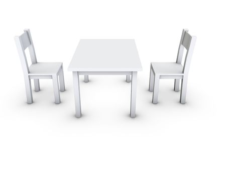 An isolated simple gray table and chair on white background Stock Photo - 3409670