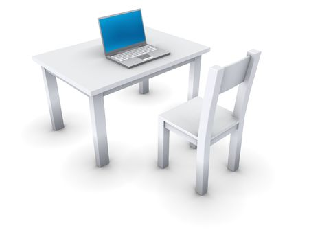 An isolated simple gray table with notebook computer and chair on white background Stock Photo - 3409672