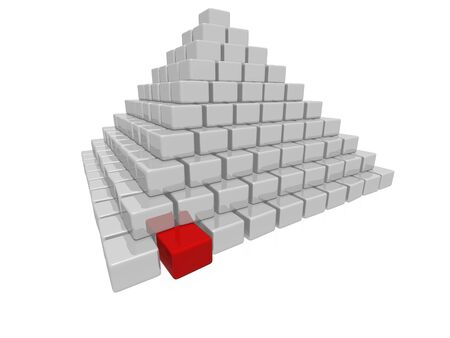 An isolated pyramid made of many gray boxes and one red box on white background