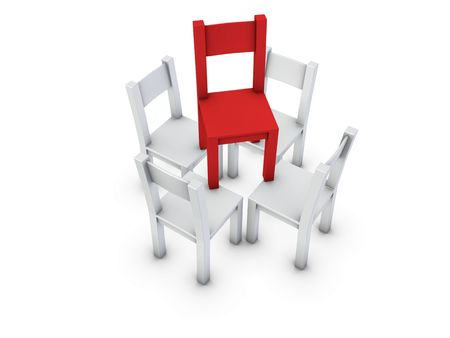 An isolated gray chairs are supporting one red chair on white background Stock Photo - 3430458
