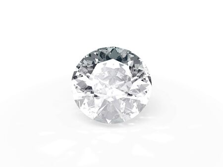 An isolated brilliant cut diamond on white background