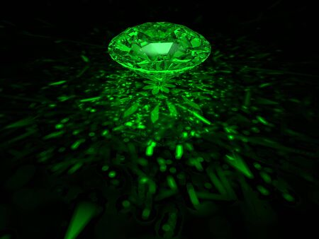 A sparkling green brilliant cut diamond on dark background Stock Photo