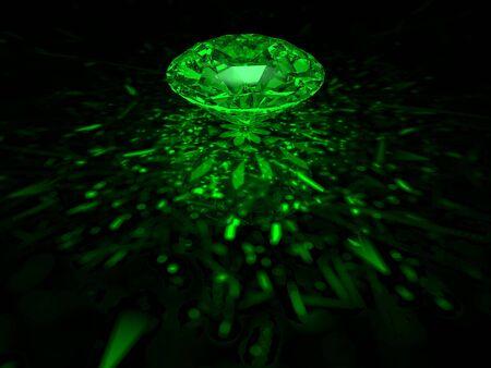 Een schitterende groene brilliant cut diamant op donkere achtergrond Stockfoto